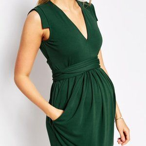 Asos Maternity v neck wrap tie dress size6